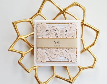 Custom blush laser cut wedding invitations - Handmade invitation suite with layered bellyband {Broadway design ~ Sku: BroSer03a}