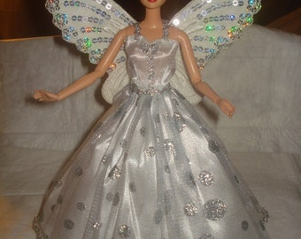 Sparkle argent pointillé robe ange avec ailes d'argent paillettes pour POUPEES mannequins - ed504
