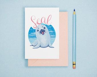 Seal Illustration Print - Animal Postcard, Animal Print, Alphabet Card, Nursery Art, Cute Greeting Card, Art Print, Wall Art