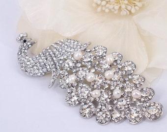 Crystal Peacock - Austrian Rhinestone and Freshwater Pearl Bridal Brooch Pin