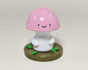 Pink Mushroom Woodland Figurine - Collectible Clay Figure