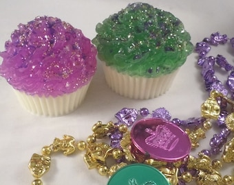 Mardi Gras Vegan Cupcake Soap Set - Cupcake Soap - Fat Tuesday