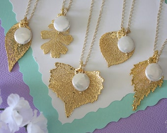 4 Gold Leaf Bridesmaid Necklace, Real Leaf, Pearl Necklace, Leaf and Pearl, Leaf Necklace, Leaf Pendant, Bridesmaid Gift, White Pearl