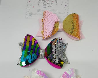 Double sided sequin hair bows