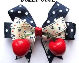 Nautical Anchor, Star and Polka Dot Print hair bow with realistic lifelike juicy cherries by Dolly Cool