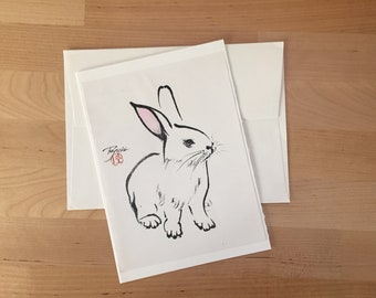 Vintage 1980s Stationery Bunny Rabbit Ink Drawing Print by Ryuko Card Envelope Blank Inside Birthday Greeting Sympathy Handmade Japanese Ink