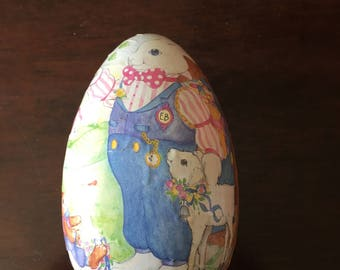 Paper Mache Easter Egg Bunny Rabbit Lamb West Germany