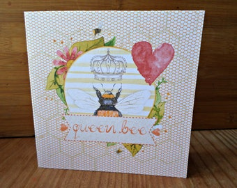 Queen Bee is 15cm x 15cm handmade any occasion card