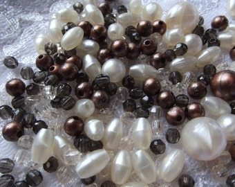 100+ Mixed Brown and beige acrylic Bead mix / Jewelry Supply Lot / loose bead / mixed media / altered art / destash / craft supplies