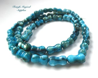 40 Turquoise Blue Shell Beads, 8mm x 4- 5mm Hourglass Pinched Tube Beads, Dyed Mother of Pearl Beach Shell, 40 pieces SP775