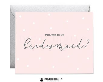 Blush Pink Will You Be My Bridesmaid Card Bridesmaid Proposal Card Blush Pink Bridesmaid Card Bridal Party Card Silver Envelope Ellie CW0012