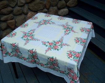 Midcentury Modern Cotton Printed Tablecloth Shabby Chic Tablecloth