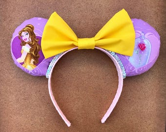 SALE- Beauty and the Beast Pink and Yellow Minnie Mouse Ears