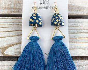 Earrings - Tassel earrings, Statement earrings, polymer clay earrings, denim blue with gold leaf