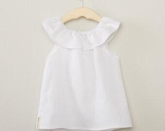 Girls White Linen Ruffle Neck Top, White Linen Top, Girl White Shirt, Toddler Linen Top, Kids Ruffle Neck Top, Girls Ruffle Shirt, Kids Top