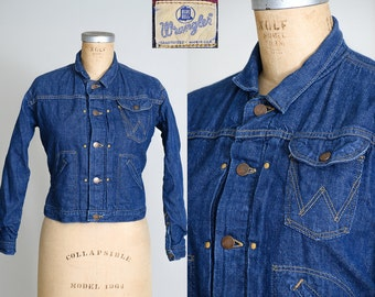 1950s Wrangler Blue Bell Indigo Denim Blanket Lined Jean Jacket Western Ranch Hand Selvedge Cone Denim Jacket