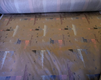 """55"""" Wide Steel City Skyscrapers Plush Toffee Brown Upholstery Fabric Abstract Print Pattern for Chairs Cushions Settees Bench Headboard ST"""