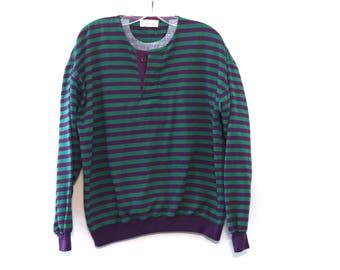 Vintage 80s sweatshirt striped green purple