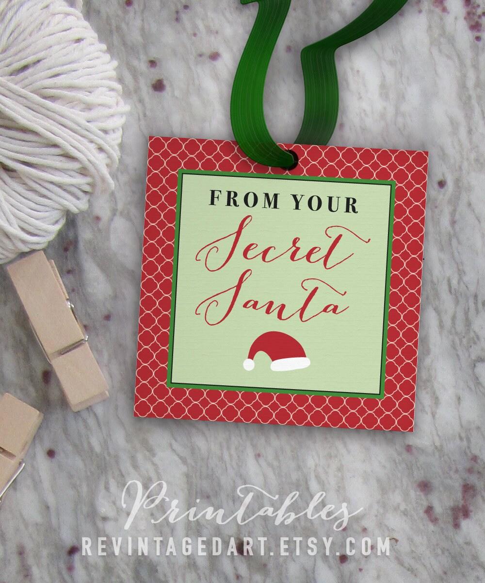 Secret Santa Tags Printable Christmas Gift Tags for Work