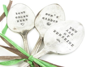 Spoon Garden Markers. Stamped Vintage Silverware. Mom's Garden, You Are My Sunshine, Love Grows Here. Perfect Gift for Mother's Day. 012GDN