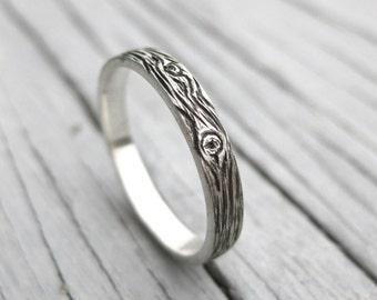 BARNWOOD womens cedar woodgrain ring faux bois 3mm sterling silver wedding band Made to Order