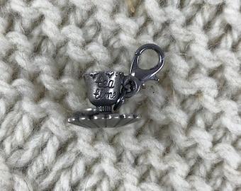 Knitting Crochet Progress Keeper - Fairytale Teacup and Saucer Stitch Marker - Knit Crochet Charm - Zipper Pull - Garden - Bohemian Cottage
