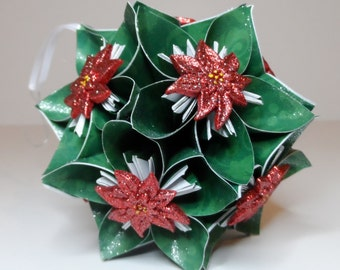 Small Kusudama Flower Ball Ornament (Poinsettia V2)