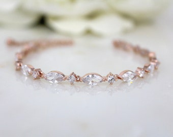 Bridal Tennis bracelet, Rose Gold Bridesmaid bracelet, Wedding bracelet, Cubic zirconia bracelet, Simple bracelet, Bridal jewelry, Dainty