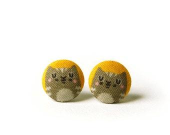 Cat Stud Earrings, Kitten, Fabric Buttons, Small Ear Studs, Earrings for Children, Gift for Her
