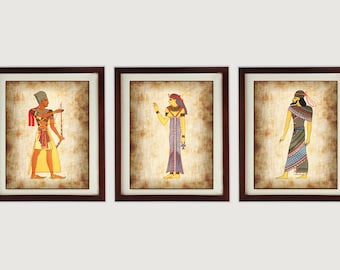 Egypt Wall Decor Set Of 3 Prints Parchment Paper Style Old Antique Ancient  Printable INSTANT DOWNLOAD