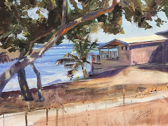 "Seascape - The Edge - The Cayman's - 12""x16"" - Acrylic on Canvas by Jacob Secrest"