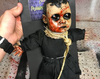 Possessed Porcelain Evil Doll Halloween Talking Devil Decoration