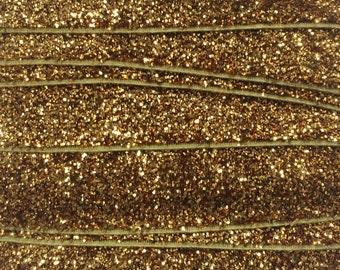 "Glitter Fold Over Elastic By the Yard, Glitter Elastic for Headbands, 5/8"" Gold Glitter Elastic By the Yard, 5 or 10 Yards"