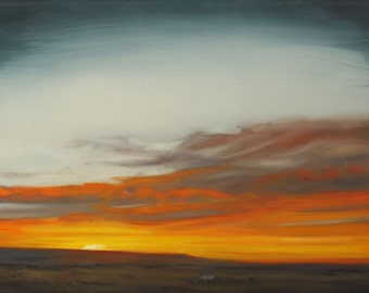 sunrise, oil painting, ready to hang, prairie, western sky, bright color