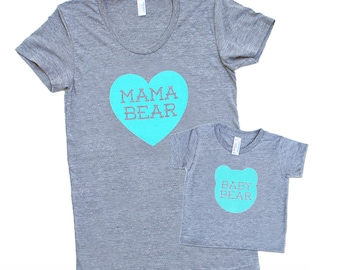 Mama Bear and Baby Bear Matching Set - Triblend Heather Grey with Aqua Blue Print