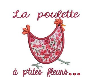 Instant download machine  embroidery  applique Hen with flower