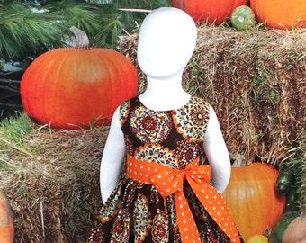 Girl, Fall Dress, Toddler, Thanksgiving Dress, Baby, Autumn Dress, School, Outfit, Orange, Brown, Handmade, Cotton Boutique Sleeveless Twirl