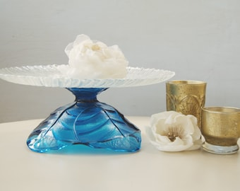 Sapphire Blue Cake Stand / Cobalt Vintage Glass / Wedding Centerpiece / Something Blue / Dessert Buffet / Petit Fours Party / Gift for Her