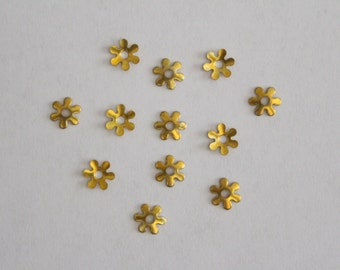 Teeny raw brass flower bead caps 6mm (12)