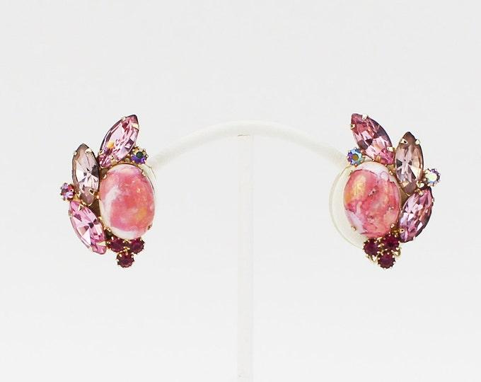 60s Pink Rhinestone Earrings - Vintage Pale Pink Rhinestone Clip Ons