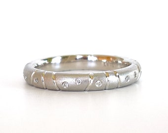 PLATINUM Stacking Ring with Flush Set Diamonds, Platinum Diamond Eternity Band,Platinum Engagement Ring, Modern Unique Platinum Wedding Band