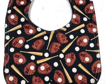 Baseball Baby Bib - infant bib - dribble bib - sports - baby shower gift - ballgame - handmade - baby boy bib - baseball