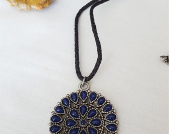 Large Blue and Silver Mandala Pendant Necklace on Braided Black Leather Cord