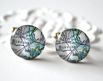 Savannah Georgia Vintage Map Cufflinks / brass cuff links / heirloom jewelry handmade in the USA