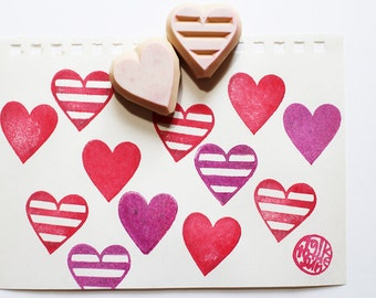 love heart rubber stamp set | shape stamp | gift for girls | diy card making | japanese stationery | hand carved by talktothesun | set of 2