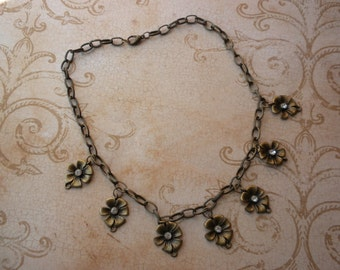 ANTIQUE GOLD FLORAL charm necklace