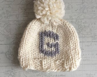 Cream Monogram knit hat, baby hat, toddler hat, kid hat, customized letter hat, monogram beanie hat, monogrammed pom pom hat