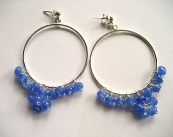 Hoops ,Gemstone hoops, Blue agate earrings, Silver 925  hoops