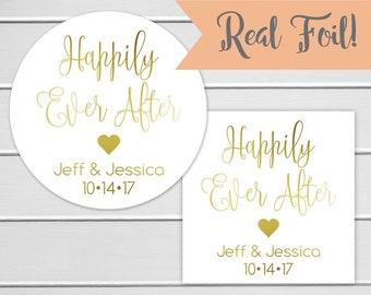 Happily Ever After Wedding Stickers, Gold Foil Wedding Thank you Stickers, Envelope Seals  (#137-F)