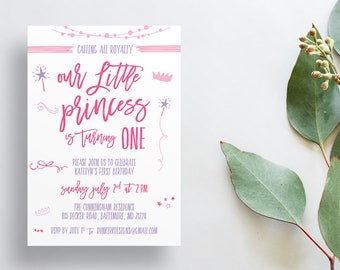 Princess First Birthday Party Invites / Princess Party / Semi-Custom Invites / Little Girl Birthday / Printed Invitations